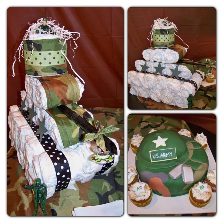 Baby Shower Army themed with tank diaper cake (made by my mom and I) and army cake (Cakes by Jennie).