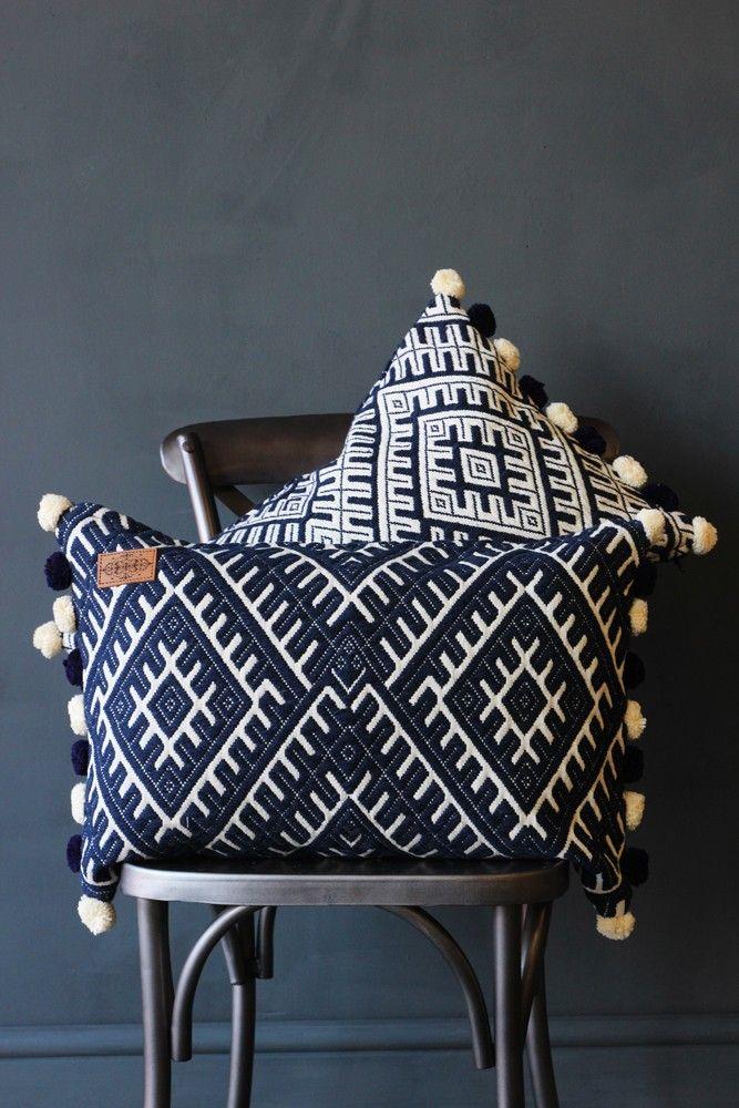 Aztec Pom Pom Cushion - Blue - View All - NEW