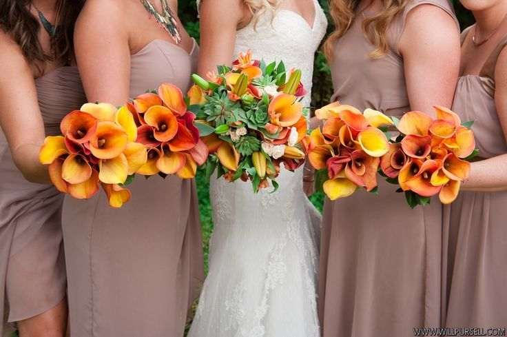 Orange, Rust and green accents, Calla, hybrid lilies, spray roses, alstromaria and Succulents Larissa and Richie | Teal and Rust |Rust-ic Chic  Backyard Celebrations