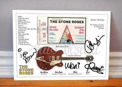 Ian Brown The Stone Roses Spike Island 1990 Concert Ticket Signed Photo