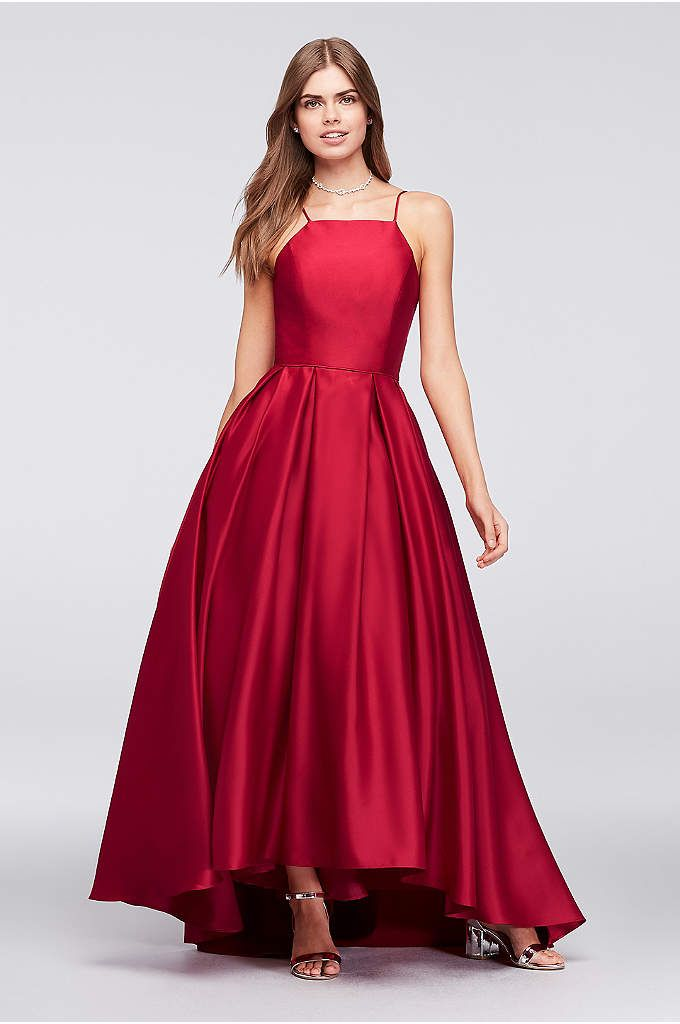 High-Neck Satin Ball Gown – Crafted of lustrous satin, this high-neck, spaghetti-strap ball