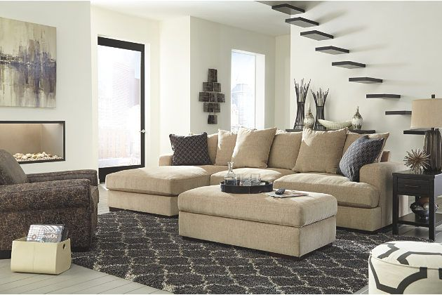 Chaise Lounge Sofa With Coordinating Ottoman And Accent