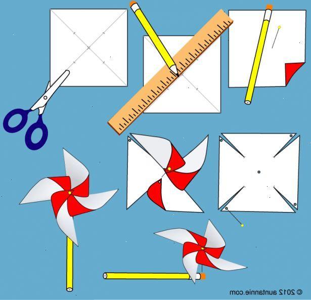 Hur man gör en vindsnurra. Klipp en bit vanligt papper i ett 7x7-tums / 17 0,5 x17.5-cm kvadrat.
