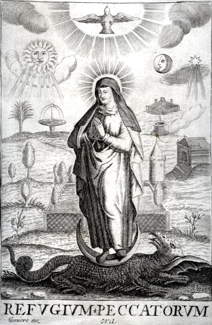 Refugium Peccatorum  A 17th century engraving as Mary as the Refuge of Sinners.  In the background several symbolic titles of Mary are depicted, for example Morning Star, Mirror of Justice, and Garden Enclosed.
