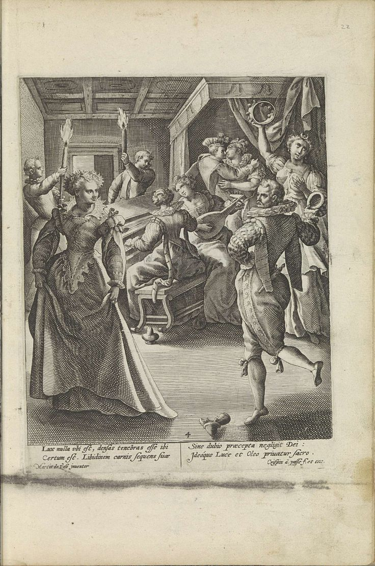De vijf dwaze maagden dansen en musiceren, Crispijn van de Passe (I), 1589 - 1611