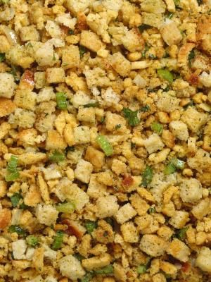 How to Make Old Fashioned Bread Stuffing from Scratch  1/2 salt and 1/2 tsp poultry seasoning