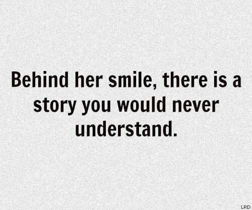She smiles through the pain of the past because she is hopeful for the future
