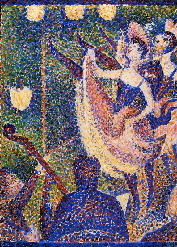 Study for The Chahut,1889-1890, oil on wood, 21.8 x 15.8 cm. Courtauld Gallery, London, UK. Pointillism, Georges Seurat (1859- 1891).