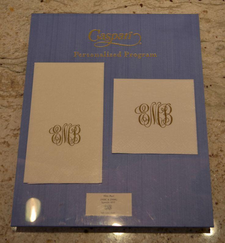 Personalized Caspari napkins available at Reflections Newbury Street, Boston