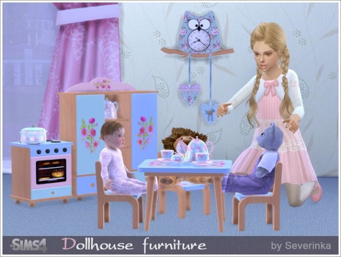 Dollhouse furniture set at Sims by Severinka • Sims 4 Updates