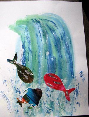 waterval van plakkaatverf ( groen, licht- en donkerblauw) en visjes door de kids zelf gemaakt