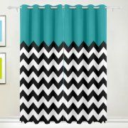POPCreation Mint Chevron Window Curtain Blackout Curtains Darkening Thermal Blind Curtain for Bedroom Living Room,2 Panel (52Wx84L Inches)