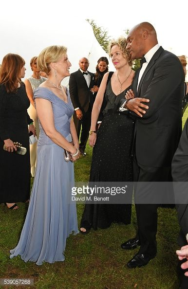 Sophie, Countess of Wessex, Fiona Hawthorne and Colin Salmon attend the Duke of Edinburgh Award 60th Anniversary Diamonds are Forever Gala at Stoke Park on June 9, 2016 in London, England.