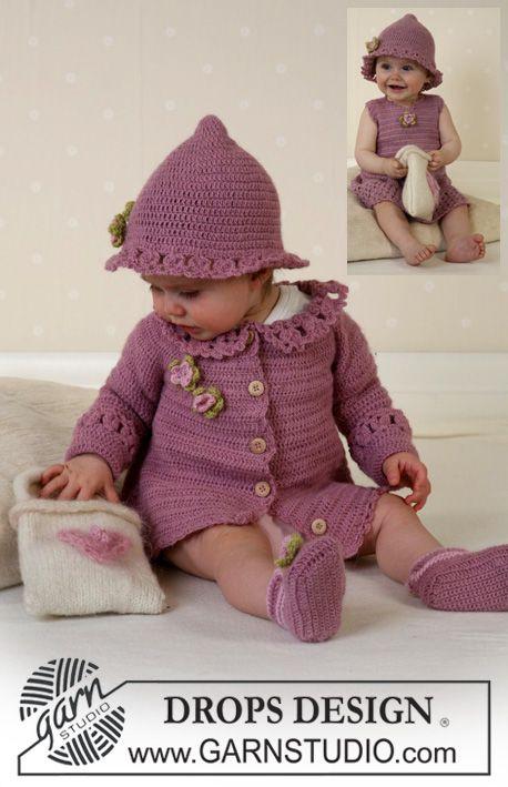 """Little Miss Berry Cardigan / DROPS Baby 14-5 - Jacke mit Rundpasse, Hut und Schuhe in """"Alpaca (Kleid und Tasche 14-4)"""