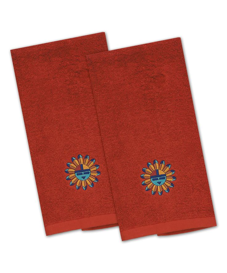 Sun Embroidered Terry Towel - Set of Two
