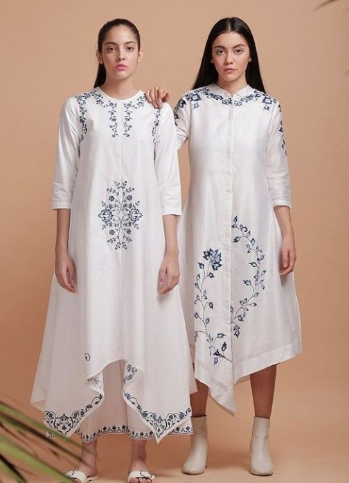 98111bb894c2 Beautiful Silk Asymetric Kurtis with grey embroidery. Great ...
