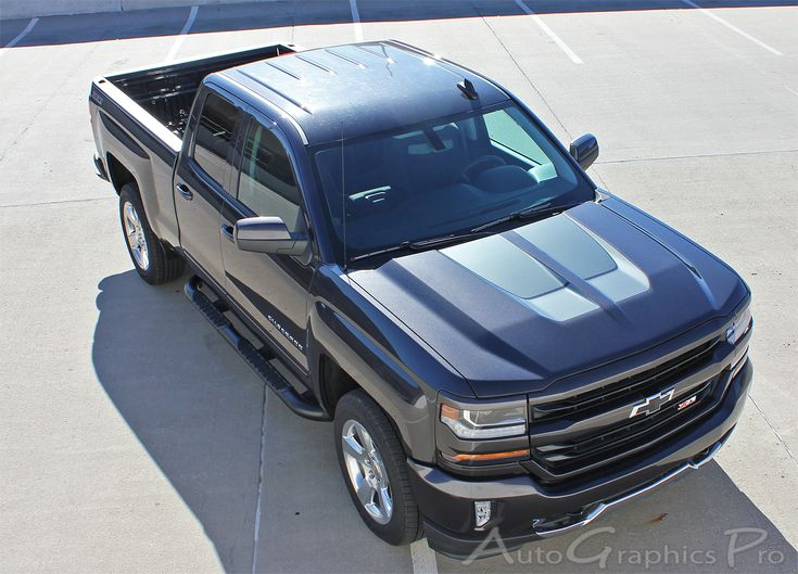 "2016-2017 Chevy Silverado 1500 ""CHASE RALLY"" Special Edition Style Truck Hood Racing Vinyl Graphics Stripes Kit  Vinyl Graphic Stripes Decals Kits Vehicle Specific Accent Striping Decal Packages 