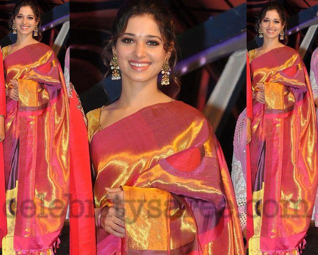 Tamanna in Kanchi Silk Bridal Saree at CineMaa Awards | Saree Blouse Patterns