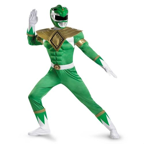 Green Power Ranger Muscle Costume - The Halloween, you'll be saying Go Power Rangers, Go. with this fantastic Green Power Ranger Costume. This five-piece costume includes a helmet, jumpsuit, belt, gloves and boot covers. The helmet, is a full helmet which wraps around the back of the head. You see out of the lightly tinted visor. The jumpsuit features a large, gold foam armour plate which protects the shoulders and sternum. #powerrangers #yyc #costume #scifi