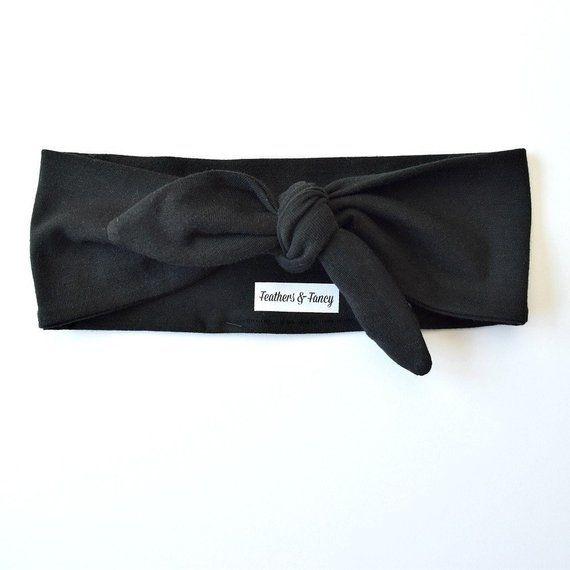 Black Jersey Knotted Headband, Bandana Headband, Knotted Headband
