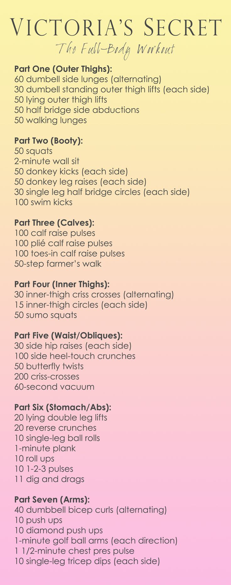 Victoria's Secret Workout Full-Body. yes, a workout plan w/o jumping jacks!