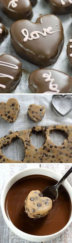 Perfect Valentines day treat for your honey - Chocolate Chip Cookie Dough Valentine's Hearts