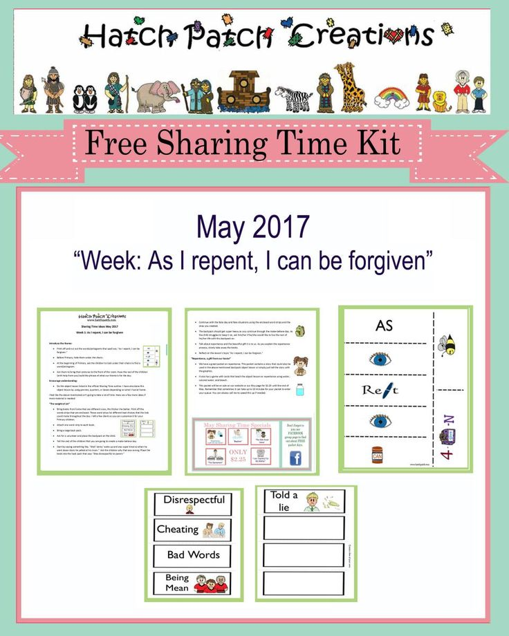 Free Sharing Time Kit: May 2017 Week 1: As I repent, I can be forgiven.