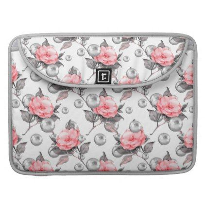 Flowers and pearls sleeve for MacBook pro - rose style gifts diy customize special roses flowers
