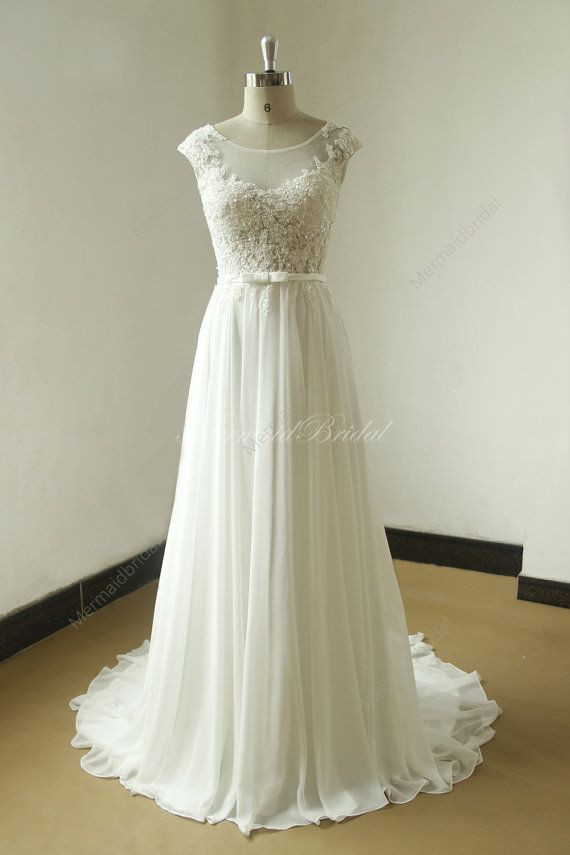 Ivory A line chiffon lace see thru wedding dress with elegant beading work