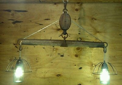 Repurposed Pulley Pendant Yoke Light