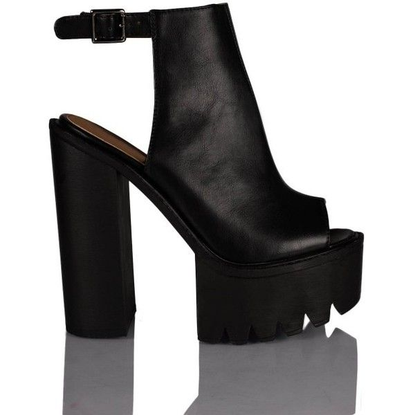 Mollie Ankle Strap Peep Toe Chunky Platform Boots In Black (110 BGN) ❤ liked on Polyvore
