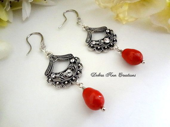 Swarovski Red Pearl Chandelier Earrings by DebraAnnCreations
