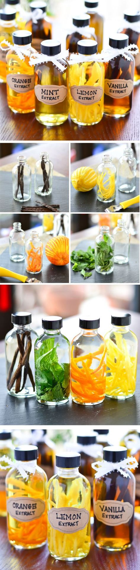 DIY Flavored Extracts - TIP: I use the best Vodka I have on hand to make flavored extracts around the holidays for baking. I get the bottles at my local natural foods store, and use any kind of fresh fruit or veggie flavor I want, like Vanilla Amaretto, Meyer Lemon, Clove and Cinnamon Stick, Ginger, Red Pepper, even those little Cinnamon Imperial Candies! ~~  Houston Foodlovers Book Club