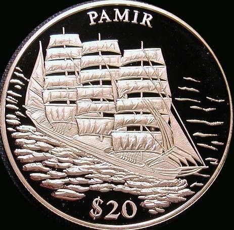 Liberia, 20 dollars, 2000.  The Pamir.