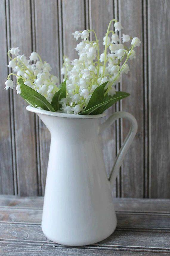 Vintage Inspired Enamel Pitcher,Milk Pitcher,Vintage Look Pitcher,Farmhouse Pitcher,Magnolia Inspired Enamelware Pitcher, Enamel Vase