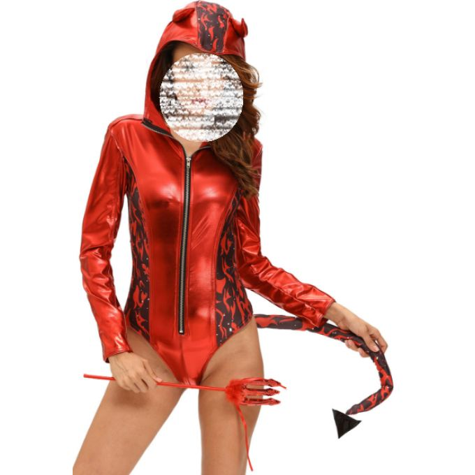 Costume rouge body à capuche diable & flamme - bestyle29.com