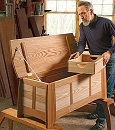 Hickory and Ash Blanket Chest by Peter Turner - Floating tenons and a consistent angle keep joinery manageable