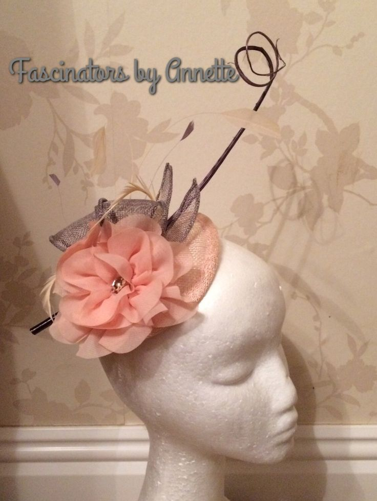 A personal favourite from my Etsy shop https://www.etsy.com/uk/listing/514955335/nude-peach-and-grey-fascinator