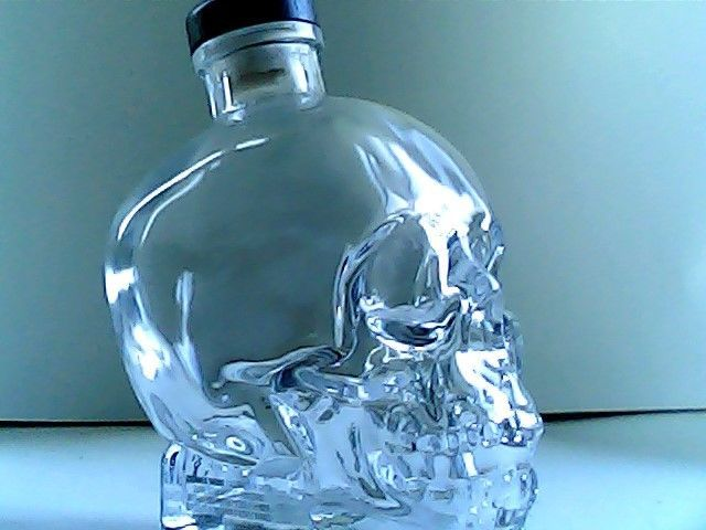 crystal head with top plug  7 inches tall