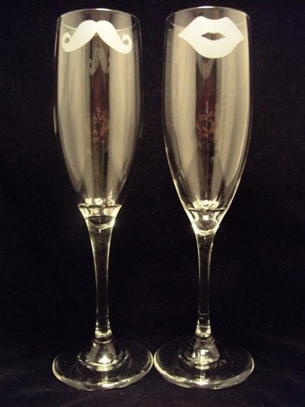His and Hers: Fun champagne flutes from Jackglass