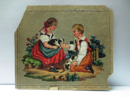VINTAGE BERLIN HAND PAINTED WOOL WORK EMBROIDERY TAPESTRY PATTERN BOY AND GIRL in Antiques, Linens & Textiles (Pre-1930), Embroidery | eBay
