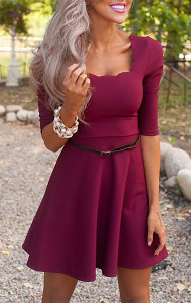 stylish half sleeve square neck pure color a line women 39 s dress pinterest mode. Black Bedroom Furniture Sets. Home Design Ideas