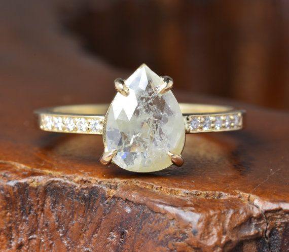 Rose Cut Diamond 14k Yellow Gold Engagement by PointNoPointStudio