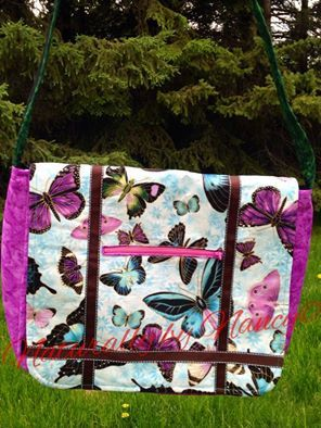 Crossbody large messenger bag, with beautiful butterfly fabric.