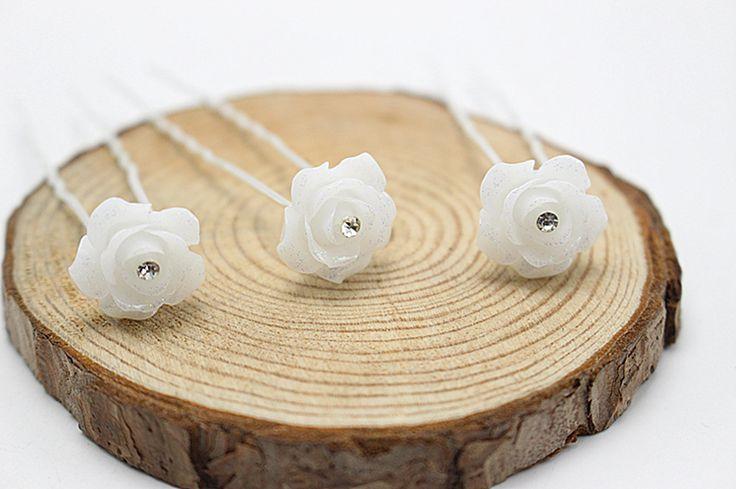 10 pcs   Hair Accessories Simple Fashion Hair Pins  White Rose Rhinestone  Brides  Hairpins Women Wedding Hair Jewelry H-46