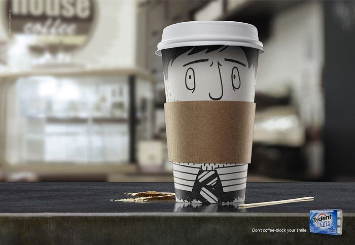 Trident White advertising. Don't coffee-block your smile.
