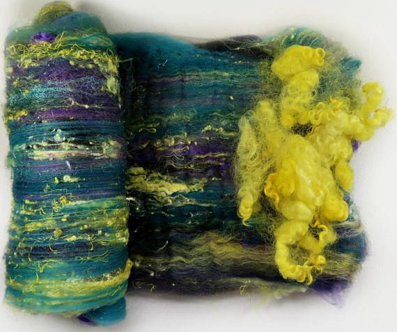 Fireflies 2 Bumpy Ride Batt for spinning and felting 3.5