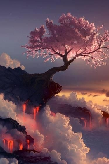 Het lijkt alsof dit een foto is van een boom op een berg die boven de wolken uitsteekt. De kleuren steken erg mooi met elkaar af.