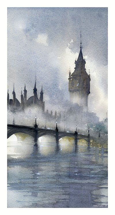 So many amazing paintings of Big Ben. London Fog, 2009, watercolor, 16 x 8. All works by Thomas Schaller.