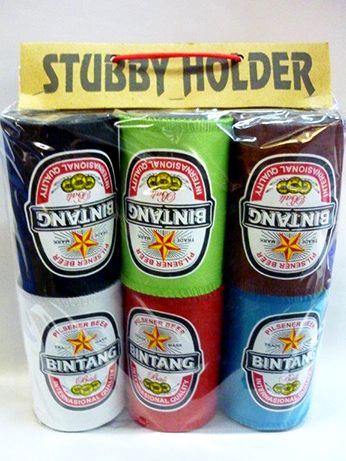 Beer Holder, Stubby Holder, Bottle Holder, Bali Bintang Stubby Holder  These Bali Stubby Holders will ensure your drinks stay cold while you're having a yarn around the bbq  There is  six in the bag, so there's one for all of your mates....